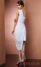 White Chiffon Sheath Short One Shoulder Graduation Dress(JT2170)