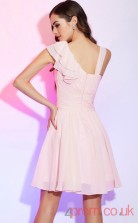 Blushing Pink Chiffon A-line Short Asymmetric Short Sleeve Graduation Dress(JT2180)