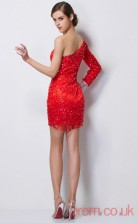 Red Tulle Sheath Short One Shoulder Long Sleeve Graduation Dress(JT2188)