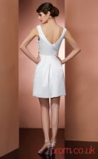 Ivory Matte Satin A-line Short V-neck Graduation Dress(JT2194)