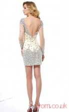 Champagne Tulle Strenth Satin Sheath Short Bateau Long Sleeve Graduation Dress(JT2198)