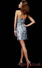 Silver Sequined Sheath Short Strapless Graduation Dress(JT2199)