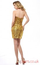 Gold Sequined Sheath Short Sweetheart Graduation Dress(JT2200)