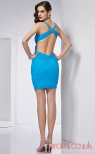Pool Chiffon Sheath Short Straps Graduation Dress(JT2203)