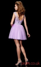 Lilac Tulle A-line Short Bateau Illusion Graduation Dress(JT2205)