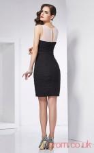 Black Taffeta Sheath Short V-neck Graduation Dress(JT2207)