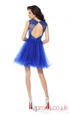 Ocean Blue Tulle Sequined A-line Short Illusion Graduation Dress(JT2230)