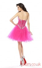 Hot Pink Tulle Sequined A-line Mini Sweetheart Graduation Dress(JT2244)