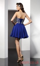 Blue Chiffon A-line Mini Sweetheart Graduation Dress(JT2248)