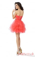 Salmon Tulle A-line Mini Sweetheart Graduation Dress(JT2250)