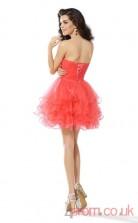 Salmon Tulle A-line Mini Sweetheart Graduation Dress(JT2250)