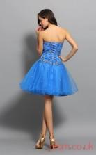Ocean Blue Tulle A-line Mini Sweetheart Graduation Dress(JT2255)