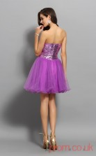 Dark Lilac Tulle Sequined A-line Mini Sweetheart Graduation Dress(JT2256)