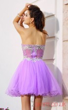 Lilac Tulle A-line Mini Sweetheart Graduation Dress(JT2259)