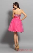 Watermelon Tulle Sequined A-line Mini Sweetheart Graduation Dress(JT2261)