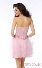 Candy Pink Satin Tulle A-line Mini Sweetheart Graduation Dress(JT2271)