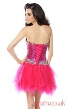 Fuchisa Sequined Tulle A-line Mini Sweetheart Graduation Dress(JT2274)