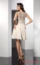 Beige Chiffon A-line Mini Illusion Graduation Dress(JT2286)