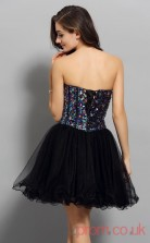 Black Tulle Sequined A-line Mini Sweetheart Graduation Dress(JT2291)