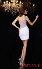 White Satin Chiffon Sheath Mini One Shoulder Graduation Dress(JT2292)
