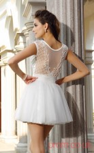 White Lace Tulle A-line Mini Illusion Bateau Short Sleeve  Graduation Dress(JT2302)