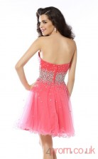 Watermelon Tulle A-line Mini Sweetheart Graduation Dress(JT2305)