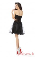 Black Tulle Lace A-line Mini Sweetheart Graduation Dress(JT2312)