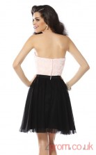 Black Lace Tulle A-line Mini Strapless Graduation Dress(JT2314)