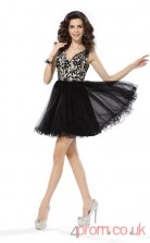 Black Tulle Lace A-line Mini V-neck Graduation Dress(JT2320)