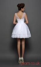 White Tulle Lace A-line Mini Bateau Graduation Dress(JT2333)