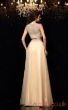 Light Champange Tulle A-line Floor-length BateauTwo Piece Prom Dress(JT2334)