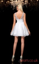 White Tulle Lace A-line Mini Bateau Graduation Dress(JT2335)