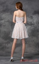 Ivory Lace A-line Mini Strapless Graduation Dress(JT2337)
