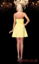 Yellow Chiffon A-line Mini Sweetheart Graduation Dress(JT2340)