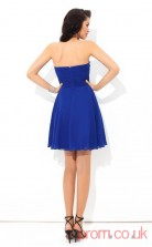 Blue Chiffon A-line Mini Sweetheart Graduation Dress(JT2341)