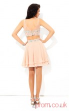 Pink Chiffon A-line Mini IllusionTwo Piece  Graduation Dress(JT2342)
