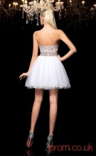 White Tulle A-line Mini Sweetheart Graduation Dress(JT2346)