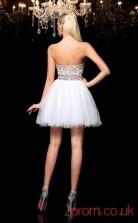 White Tulle A-line Mini Sweetheart Graduation Dress(JT2346)