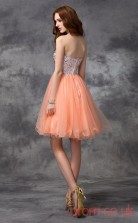 Salmon Tulle Sequined A-line Mini Bateau Graduation Dress(JT2351)
