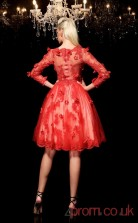 Red Tulle A-line Knee-length V-neck 3/4 Length Sleeve  Graduation Dress(JT2357)