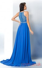 Ocean Blue Chiffon A-line Floor-length Bateau Graduation Dress(JT2358)