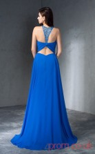 Ocean Blue Chiffon A-line Floor-length Halter Graduation Dress(JT2359)
