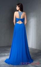 Ocean Blue Chiffon A-line Floor-length Halter Graduation Dress(JT2359)