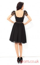 Black Chiffon A-line Mini Scoop Short Sleeve  Graduation Dress(JT2362)