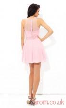 Candy Pink Chiffon A-line Mini Sweetheart Graduation Dress(JT2371)