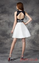 White Satin Chiffon A-line Mini Jewel Graduation Dress(JT2373)