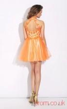 Light Salmon Tulle Lace A-line Mini V-neck Graduation Dress(JT2374)
