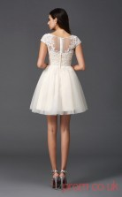 Beige Tulle Lace A-line Mini Illusion Bateau Short Sleeve  Graduation Dress(JT2377)