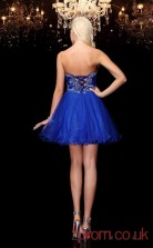 Royal Blue Tulle A-line Mini IllusionTwo Piece  Graduation Dress(JT2379)
