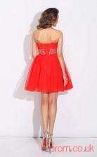 Red Tulle A-line Mini Sweetheart Graduation Dress(JT2380)